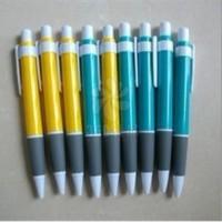 厂家定做520号油性PVC塑料绿色按动式广告圆珠笔 原子签字笔 印字