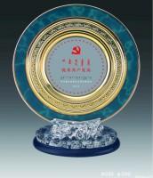 定做订做摆件高档高端圆形水晶琉璃金银纪念盘奖牌奖盘