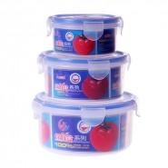 圆形 高级环保塑料保鲜收纳盒三件套密封保鲜收纳盒