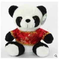 熊猫公仔 18厘米 毛绒玩具 唐装熊猫 婚庆礼品 可印logo