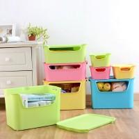 塑料收纳箱批发 可视有盖收纳盒 新款家居彩色促销礼物品定制LOGO