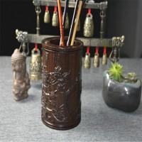 高档实木雕刻原木红木黑檀笔筒 创意檀木中式仿古摆件 办公礼品