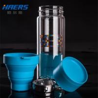 哈尔斯 双层便携玻璃杯创意透明带盖耐热过滤家用泡茶水杯随手杯