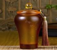高档商务礼品实用琉璃茶叶罐工艺品摆件公司活动礼品纪念品定制