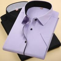 夏季白色男士短袖衬衫免烫工作服职业工装韩版商务修身正装绣logo