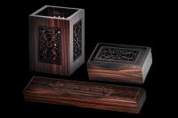 黑檀木办公文具三件套装 笔筒名片盒镇纸镂空雕刻图案可定制
