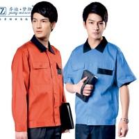 纯棉夏季半袖工作服 工作服套装男短袖 洗车汽修电焊