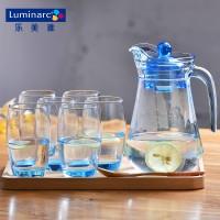 乐美雅炫彩色鸭嘴壶耐热冷水壶凉水壶玻璃杯套装家用玻璃水壶扎壶