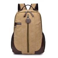 新款配皮帆布双肩背包潮款学生包书包可定做LOGO免费拿样打版