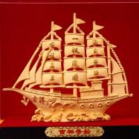 一帆风顺帆船摆件高档绒沙金家居客厅装饰品摆设办公室招财工艺品