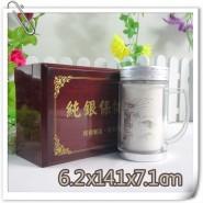 直销银质保健养生广告高档礼品带把保温茶水杯子 外塑内银质360ML