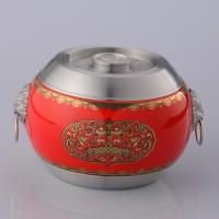 定制             热销红色纳福如意茶叶罐半斤装锡罐  97.9纯锡陶瓷内胆拼接密封罐
