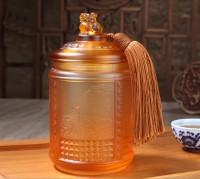 高档商务礼品实用琉璃茶叶罐工艺品送领导送老师节日礼品可定制