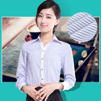 白衬衫女长袖春秋装韩版修身V领条纹职业装工作服定做OL工装衬衣