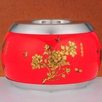 定制             原创设计 纯锡陶瓷特大号茶叶罐密封罐  中国风富贵牡丹 金属器皿