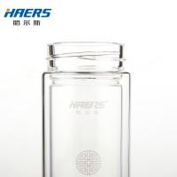 哈尔斯 双层玻璃杯带盖 便携水杯带过滤茶隔透明杯子耐热办公茶杯