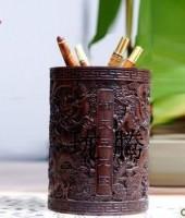 笔筒实木黑檀木雕l礼物 超重办公用品文房四宝文具御天五龙图笔筒