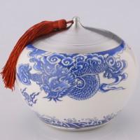 定制            纯锡陶瓷罐龙腾海天(黄/红/白青花3色)茶叶密封罐锡器
