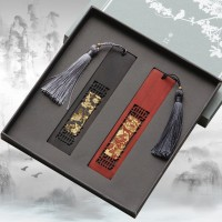 创意窗格花鸟书签 古典中国风紫檀木礼品 可定制开学礼物