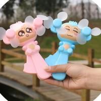 夏季卡通猴子手压小风扇塑料创意双扇头掌上手动迷你风扇印刷LOGO