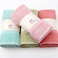中高档外贸出口纯棉素缎毛巾 环保染色全棉礼品毛巾