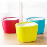 炫彩糖果色桌面垃圾桶 创意韩式翻盖迷你杂物收纳桶定制LOGO印刷
