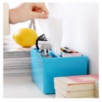 塑料多用纸巾盒  桌面整理式抽取式纸巾盒   桌面收纳盒LOGO定制