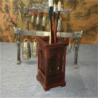 大红酸枝笔筒 毛笔笔筒实木绿檀复古檀木质 红木雕刻工艺品