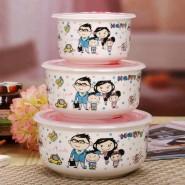 陶瓷密封直身保鲜碗三件套微波专用饭盒保鲜便当盒饭盒