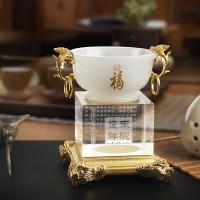 定制            玉碗摆件琉璃水晶高档商务礼品银行金融业纪念品结婚礼物