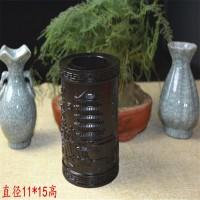 实木雕刻黑檀木质 笔筒红木古典工艺办公摆件文房四宝商务礼品