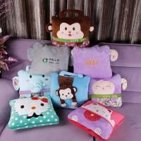定做卡通可爱毛毯抱枕被子两用广告logo刺绣字印刷沙发靠垫定制
