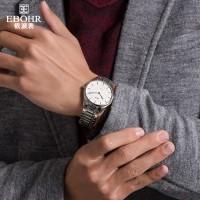 依波男士品质手表 经典简约大表盘钢带防水石英表指针式男表1042