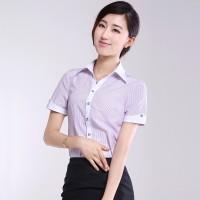 白衬衫女短袖夏装新款V领条纹半袖职业工装衬衣上班正装工作服OL