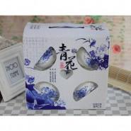 促销礼品 陶瓷餐具四件套 八头青花套装碗勺(泡沫装) 定制LOGO