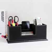 高档黑皮革笔筒创意多功能名片盒男士商务办公桌面收纳盒文化包邮