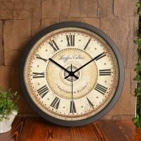 大号时钟欧美式挂表客厅静音挂钟铁艺圆形简约地中海乡村复古壁钟