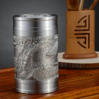 定制            新品促销 清明上河图97.9纯锡密封茶叶罐 咖啡豆罐