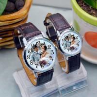 新款推荐 棕色皮带相片情侣手表定制 个性手表定做 背面刻字