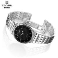 依波表天翼系列指针式手表精钢带典雅黑盘表石英表女士表 1043