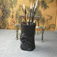 原木工艺品木雕刻摆件红木办公礼品黑檀笔筒大小号实木质