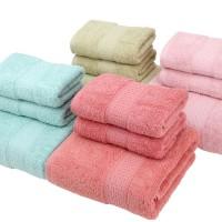 厂家直销外贸出口纯棉环保浴巾3件套巾 精美包装12环保色可选12