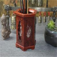 酸枝木笔筒 毛笔笔筒实木复古檀木质 红木雕刻工艺品