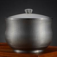 定制            新品促销 藤编茶缸(细)97.9纯锡金属茶叶罐锡罐 储物罐