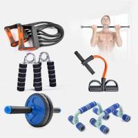 拉力器套装六件套装健身器材家用臂力棒握力棒健腹轮俯卧撑架单杠