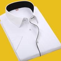 夏季商务男士短袖衬衫纯白色修身型职业正装大码条纹半袖工装衬衣