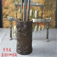 高档实木雕刻原木红木木制笔筒摆设创意木质笔筒木摆件 办公礼品