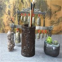 高档实木雕刻原木红木木制笔筒摆设 创意木质笔筒木摆件办公礼品