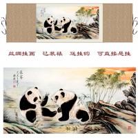 定制             熊猫  中国国宝大熊猫图 熊猫戏耍 丝绸画 卷轴画 水墨挂画已装裱