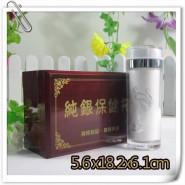 直销纯银质保健养生直筒商务礼品保温茶水杯子过滤外塑内银 420ML